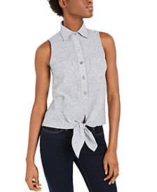 Tie-Front Linen-Blend Sleeveless Shirt