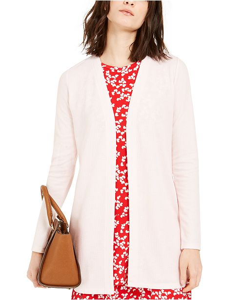 Michael Kors Long Waffle-Knit Cardigan, Regular & Petite