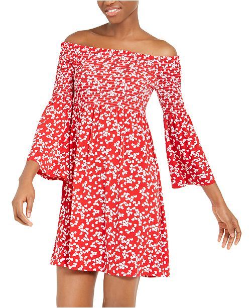Michael Kors Smocked Off-The-Shoulder Dress