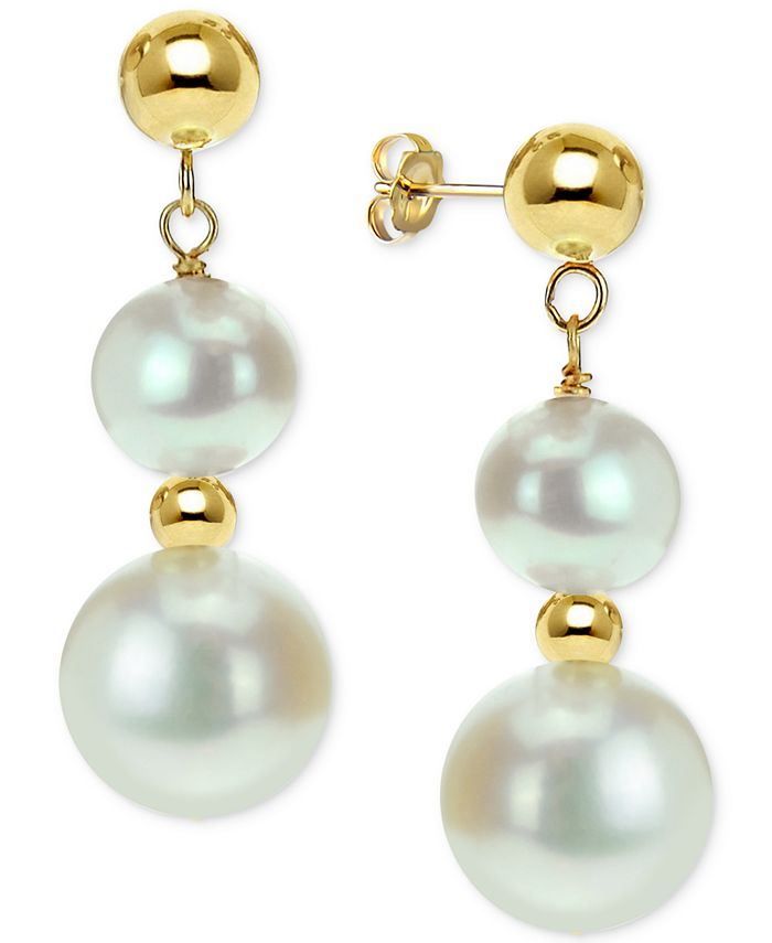 Macy's - Cultured Freshwater Pearl Dangle Drop Earrings (5 & 9mm) in 14k Gold