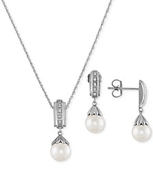 "2-Pc. Set Cultured Freshwater Pearl (7 & 8mm) & Diamond (1/20 ct. t.w.) 18"" Pendant Necklace and Matching Drop Earrings in Sterling Silver"