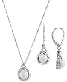 "2-Pc. Set Cultured Freshwater Pearl (7 & 10mm) & Diamond (1/20 ct. t.w.) 18"" Pendant Necklace & Matching Drop Earrings in Sterling Silver"