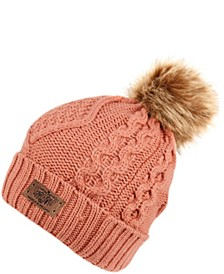 Faux Fur Pom Beanie with Fleece Lining