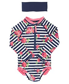 RuffleButts Toddler, Little and Big Girl's Long Sleeve Rash Guard Swimsuit Swim Headband Set