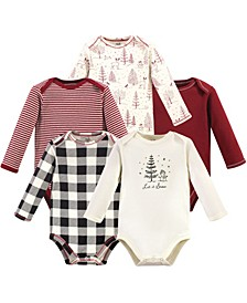 Baby Boy and Girl Organic Long Sleeve Bodysuit, 5 Pack
