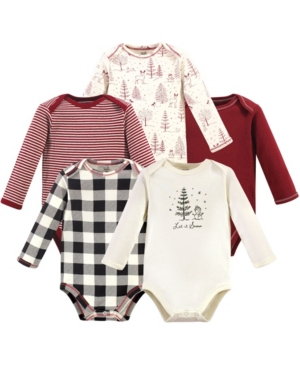 Touched By Nature Baby Boy and Girl Organic Long Sleeve Bodysuit, 5 Pack