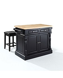 """Oxford Butcher Block Top Kitchen Island With 24"""" Upholstered Square Seat Stools"""