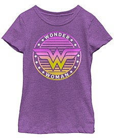 DC Comic's Big Girl's Retro Wonder Woman Badge Short Sleeve T-Shirt