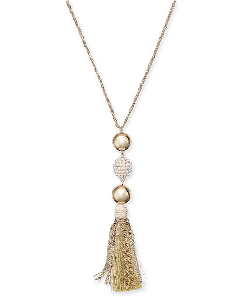 "INC International Concepts INC Gold-Tone Imitation Pearl Fireball & Mixed Tassel Pendant Necklace, 32"" + 3"" extender, Created For Macy's"