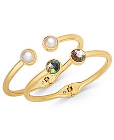 INC Gold-Tone 2-Pc. Set Crystal & Imitation Pearl Cuff Bracelets, Created for Macy's