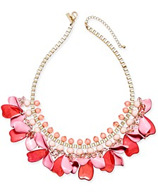 "INC Gold-Tone Bead & Shaky Petal Statement Necklace, 17"" + 3"" extender, Created For Macy's"