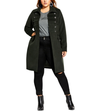 City Chic TRENDY PLUS SIZE SIMPLY FIERCE BAND COAT