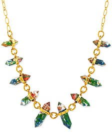"""Gold-Tone Encapsulated-Flower Statement Necklace, 22"""" + 3"""" extender"""