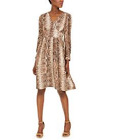 Calvin Klein Snake-Print A-Line Dress