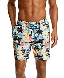 "Men's Palm Tree Scene 7"" Swim Trunks, Created for Macy's"