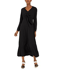 Long-Sleeve Tie-Front Maxi Dress