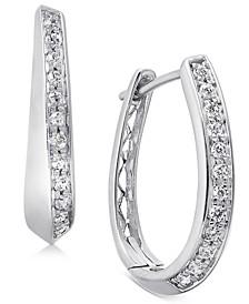Diamond Oval Hoop Earrings (1/4 ct. t.w.) in 14k White Gold or 14k Yellow Gold