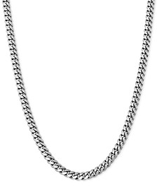 "Cuban Link 22"" Chain Necklace in Sterling Silver"