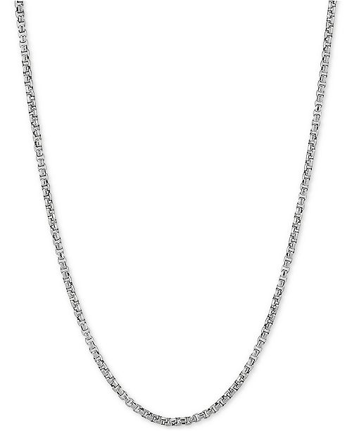 """Macy's Rounded Box Link 20"""" Chain Necklace in Sterling Silver"""