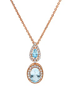 Aquamarine (1-1/3 ct. t.w) Diamond (1/3 ct. t.w) Pendant set in 14K Rose Gold