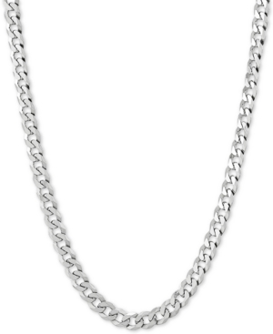 """Flat Curb Link 24"""" Chain Necklace in Sterling Silver"""