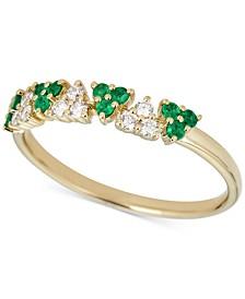 Emerald (1/2 ct. t.w.) & Diamond (1/8 ct. t.w.) Ring in 14k Gold