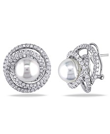 South Sea Cultured Pearl (11-11.5mm) and Diamond (4 ct. t.w.) Swirl Halo Stud Earrings in 18k White Gold