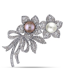 South Sea, Pink Cultured Freshwater Pearl and Brown and White Diamond (2 ct .t.w.) Floral Bouquet Brooch in 18k White Gold