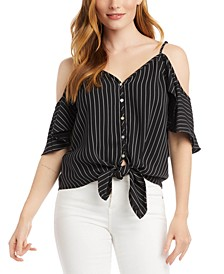 Tie-Front Cold-Shoulder Top