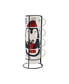 Penguin 5 Piece Mug Set w/ Metal Rack