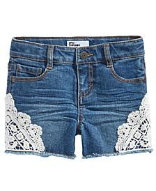Little Girls Lace Hem Denim Shorts, Created For Macy's