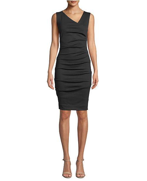 Nicole Miller Ponté-Knit Asymmetrical Dress