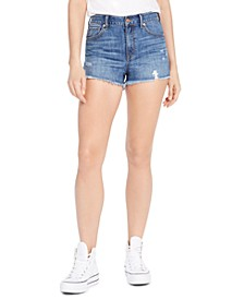 Juniors' Ripped High-Rise Denim Wedge Shorts