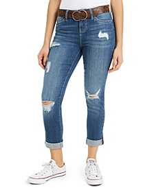 Juniors' Destructed Cuffed Jeans With Belt