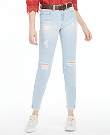 Juniors' Belted Distressed Cuffed Jeans