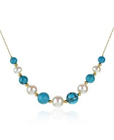 """White Freshwater Cultured Pearls (6.5-9.5mm) with Blue Lapis (27 ct. t.w), and Gold Beads (3mm) 18"""" Necklace in 14k Yellow Gold. Also Available with Onyx and Turquoise"""