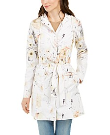 Hooded Floral-Print Water-Resistant Trench Coat