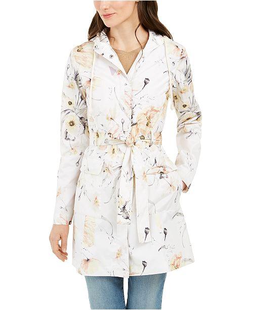 kensie Hooded Floral-Print Trench Coat
