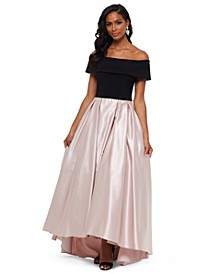 Petite Off-The-Shoulder Pleated Gown