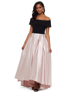 80s Dresses | Casual to Party Dresses Betsy  Adam Petite Off-The-Shoulder Pleated Gown $167.40 AT vintagedancer.com