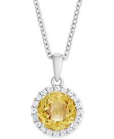 "Citrine (1-3/4 ct. t.w.) & Swarovski Zirconia Halo 18"" Pendant Necklace in Sterling Silver"