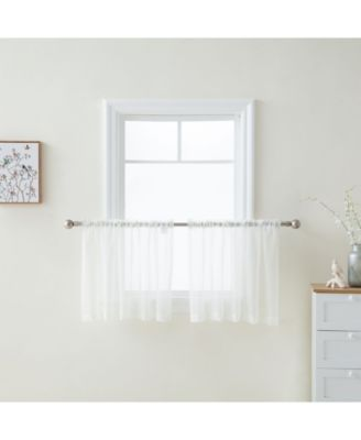 Lumino by Canberra Sheer Voile Rod Pocket Café Tiers - 54 W x 36 L - Set of 2