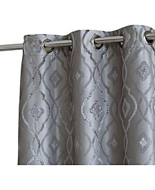 Obscura Tweed Heads Trellis Flocked 100% Blackout Grommet Curtain Panels - Set of 2
