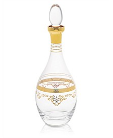 Glass Wine Bottle with Rich Gold-Tone Design