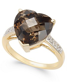 Smoky Quartz (6-1/10 ct. t.w.) & Diamond (1/10 ct. t.w.) Heart Ring in 14k Gold
