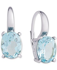 Blue Topaz Oval Leverback Earrings (6-3/8 ct. t.w.) in Sterling Silver