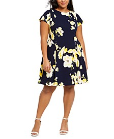 Plus Size Floral-Print A-Line Dress