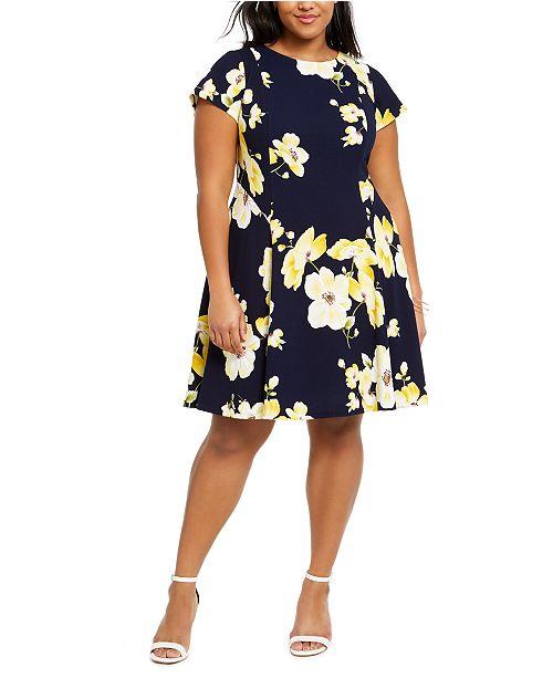 Jessica Howard Plus Size Floral-Print A-Line Dress