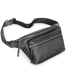HUGO Men's Textured Faux-Leather Waist Bag