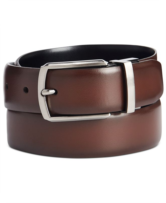 Perry Ellis Men's Burnished Reversible Dress Belt
